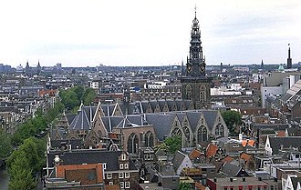 "History of religion in the Netherlands - The former Sint Nicolaas (Saint Nicholas) and present Oude Kerk (""old church"") in Amsterdam."