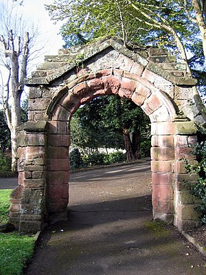 Grade II listed buildings in Chester (east) - Image: Old St Michael's doorway in Grosvenor Park geograph.org.uk 763761
