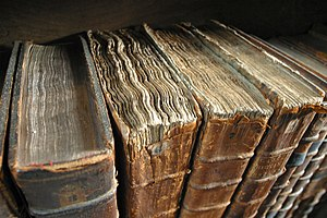 Petrarch's library - Crumbling old manuscripts