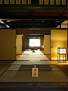 <i>Fusuma</i> vertical rectangular panels that slide from side to side to redefine spaces within a room or act as doors; typically 90 cm wide, 180 cm tall, 2–3 cm thick; made of a wooden lattice and a layer of paper or cloth on both sides
