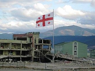 Occupation of Gori - Destroyed Georgian military base in Gori