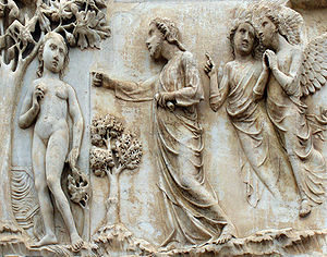 Tree of the knowledge of good and evil - A marble bas relief by Lorenzo Maitani on the Orvieto Cathedral, Italy depicts Eve and the tree