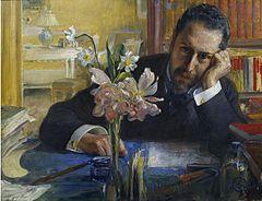 Oscar Levertin prtrætteret i 1906 af Carl Larsson.