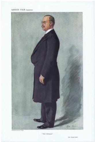 """Oswald Stoll - Caricature of Oswald Stoll by """"Ape Jr"""" in Vanity Fair, 4 Jan 1911"""