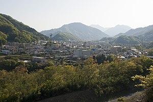 Ōtsuki, Yamanashi - Panoramic view of Ōtsuki City, from Mount Iwadono