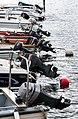 Outboard motors on boats in Norra Hamnen, Lysekil.jpg