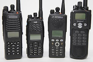 Project 25 - Several hand-held Project 25 radios used around the world.