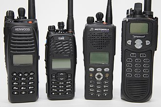 Two-way radio - Several modern two-way hand-held radios compatible with the Project 25 digital radio standard (Mobile and base station radios not shown)