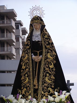 Holy Week in Zamora - Virgen de la Soledad on Tres Cruces Avenue, Good Friday