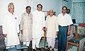 Pandit Ram Kishore Shukla with Digvijaya Singh, Santosh Kumar Shukla, Dr. Surendra Shukla and Lal Bahadur Singh (extreme left) at chief minister house, 6 Shyamla hills, Bhopal in 2002.jpg