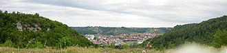Ugljevik - Panoramic view of Ugljevik from one of nearby hills, cave also visible