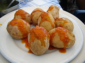 Tapas - Papas arrugadas with red mojo sauce