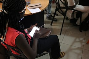 Participant on Mobile Phone WikiDemocracy Event May 2017 30.jpg