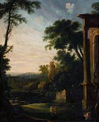 Landscape with architecture and staffage