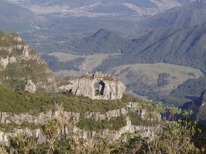 Morro da Igreja - Pedra Furada, a stone photographed from the peak.