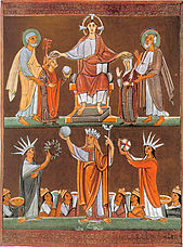 (upper half) Heinrich II. and Kunigunde are crowned by Christ, from the pericopes of Heinrich II.