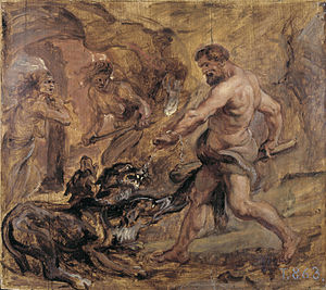 Cerberus - Hercules and Cerberus. Oil on canvas, by Peter Paul Rubens 1636, Prado Museum.