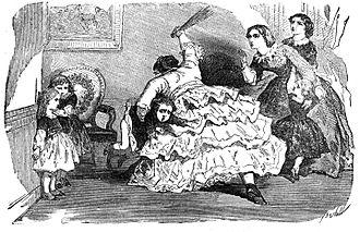 Dessin montrant une femme battant un enfant, à gauche deux enfants semblent terrifiés, à droite deux femmes crient