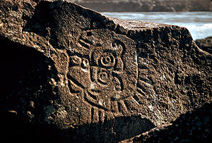 Indian petroglyphs in Columbia River Gorge nea...