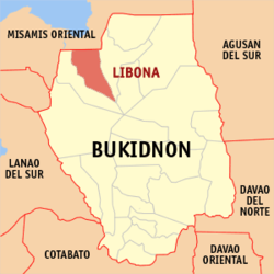 Map of Philippines with Libona highlighted
