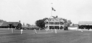 Philadelphia Cricket Club - First building, designed by G. W. & W. D. Hewitt, (1883–84). The building was destroyed by fire in 1909.