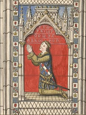 Philip III of Navarre - Sketch of a stained glass window depicting Philip III in the chapel of Saint Anne of Évreux Cathedral