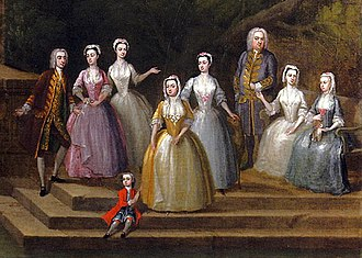 1700–50 in Western fashion - In this English family portrait, the ladies wear pastel-colored dresses with closed skirts and lace caps. Some wear sheer aprons. The lady on the right wears a mantua. The men's long, narrow coats are trimmed with gold braid. c.1730–40