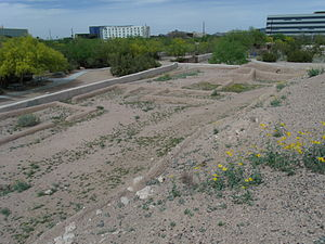 Conservation and restoration of archaeological sites - Pueblo Grande Ruin-Hohokam Village-Note the buildings in the background, this is in Downtown Phoenix, AZ