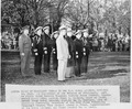 Photograph of President Truman watching the Brigade of Midshipmen pass in review, during his visit to the U.S. Naval... - NARA - 198660.tif