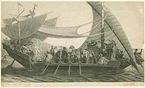 Henri-Pierre Picou - A black-and-white print of Cléopâtre et Antoine sur le Cydnus.