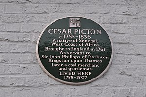 Cesar Picton - Plaque on Picton House, Kingston, summarising Picton's life