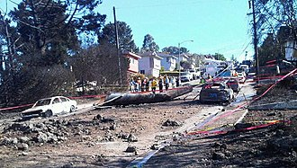 San Bruno pipeline explosion - Image: Pipe from Sanbruno explosion