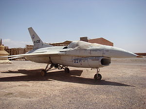 The Jewel of the Nile - Film model of a F-16B two-seat fighter aircraft used in the films Jewel of the Nile and The Living Daylights (1987) on display at Atlas Film Studios, Ouarzazate in Morocco.
