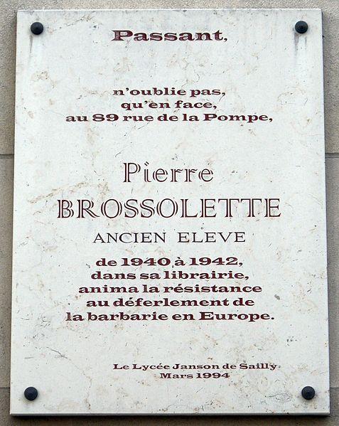 file plaque pierre brossolette 106 rue de la pompe paris. Black Bedroom Furniture Sets. Home Design Ideas