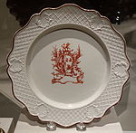 Plate, made in Staffordshire, England, possibly decorated in Liverpool, 1755-1765, salt-glazed stoneware - Winterthur Museum - DSC01442.JPG