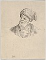 Plate 12- bust of an old Turkish man in a turban, looking towards the left, from 'Various heads and figures' (Diverses têtes et figures) MET DP831157.jpg