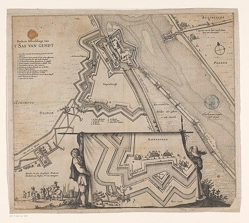 Plattegrond van het belegerde Sas van Gent, 1644 Perfecte afbeeldinge van t' Sas van Gendt (titel op object), RP-P-AO-16-128