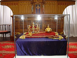 English: Replicas of Polish crown jewels, made...