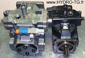 English: Rexroth hydraulic pump A4VSO250 and h...