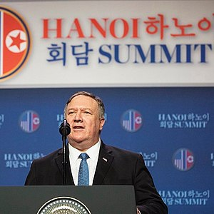 Pompeo speaking at the press conference after Hanoi summit (cropped).jpg