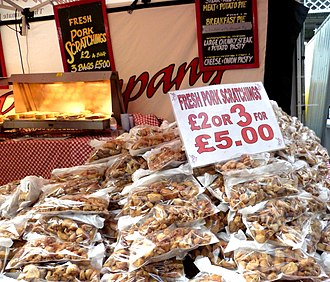 Pork rind - Pork scratchings for sale at the Great British Beer Festival 2016