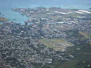 Port Louis harbour, Mauritius from the mountain Le Pouce.jpg