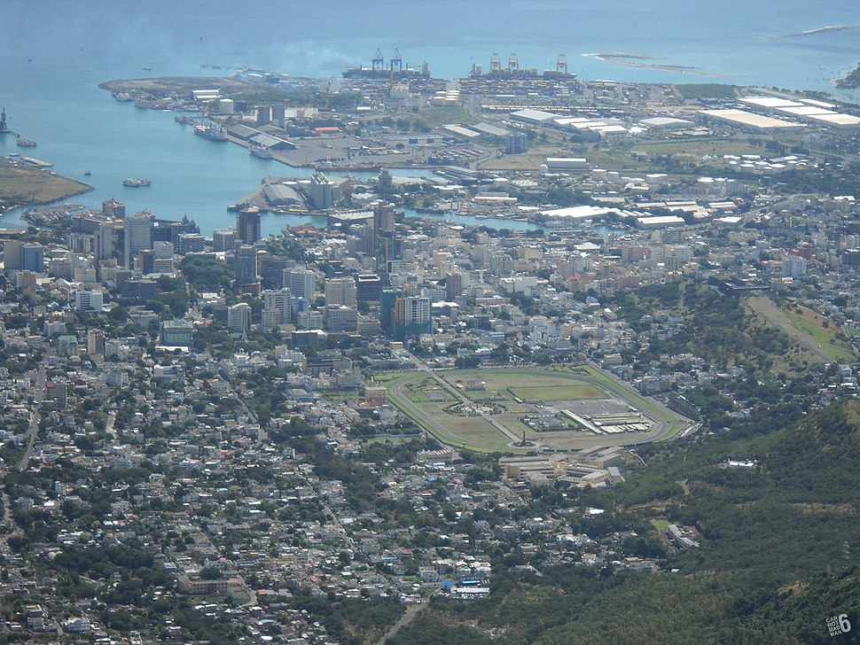 Port Louis harbour, Mauritius from the mountain Le Pouce