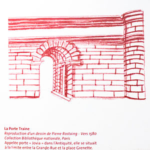 Vestiges of the Gallo-Roman wall, Grenoble - Image: Porte traine, one of four the gates of the Gallo Roman Walls that surrounded Grenoble