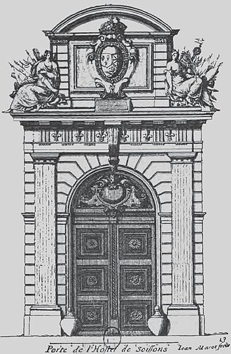 Hôtel de Soissons - Door of the hotel drawn by Salomon de Brosse in 1611