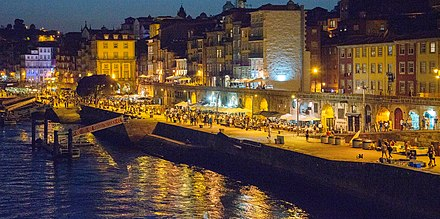 The Ribeira area is a hub for tourists Porto's riverside quarter, known as the Ribeira, is a hub for tourists.jpg