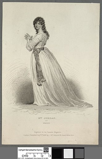 "Dorothea Jordan - Mrs. Jordan in her role of Peggy in ""The Country Girl"", David Garrick's tamer adaption of Wycherley's earlier, more scandalous play ""The Country Wife""."