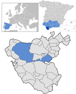 Location of Jerez de la Frontera within Cádiz province