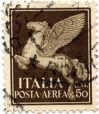 Greek mythology in popular culture - The Pegasus has been frequently used on  airmail stamps, such as this early example from Italy, 1930.