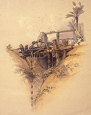 Animal-powered irrigation, Upper Egypt, ca. 1840